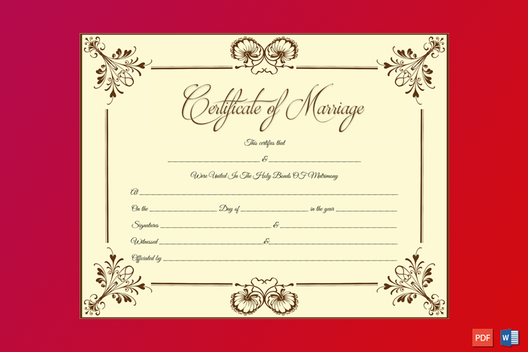 Blooming Flowers Marriage Certificate Word