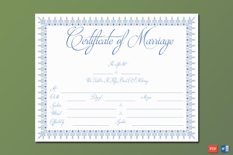 Blue Bells Marriage Certificate Template Word