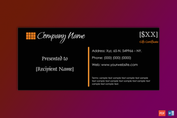 Business Gift Certificate Sample
