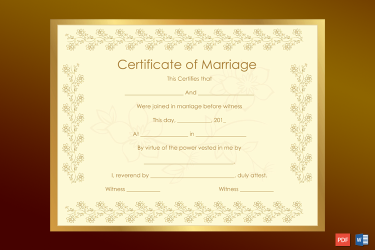 Bronze Certificate of Marriage Template Word