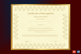 Recognition Award Certificate Sample