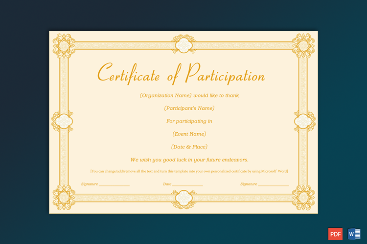 Sample of Participation Certificate