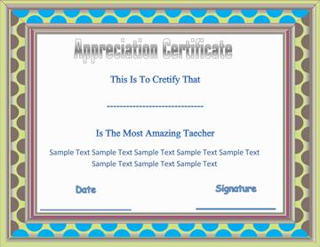 Certificate of Appreciation (Amazing Teacher)
