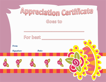 Certificate of Appreciation (Best Cake Baker)