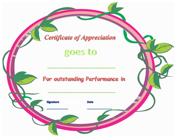 Certificate of Appreciation (Outstanding Performance)
