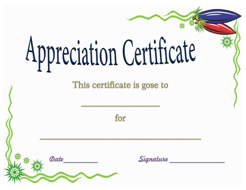 Certificate of Appreciation for Completing the Book