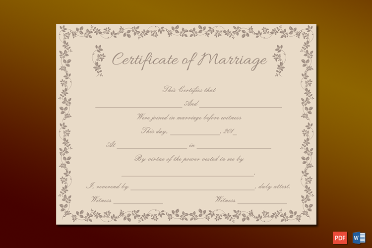 Choco Branches Themed Marriage Certificate Template Word