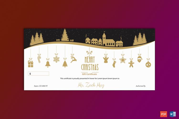 Christmas Gift Certificate Editable