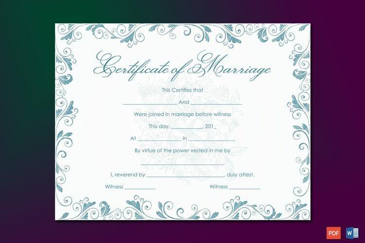 Classic Bluish Marriage Certificate Template Word
