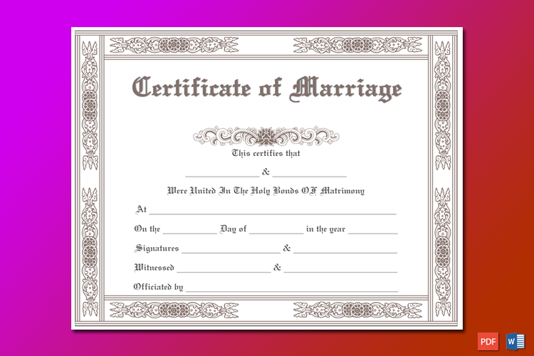 Classic Marriage Certificate Template Word