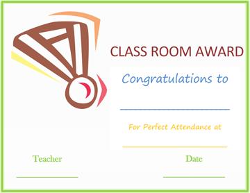 Classroom Attendance Award (Medal Design)