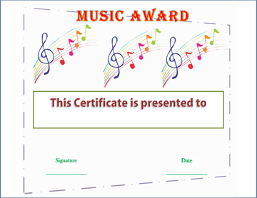 Clef Cachet Music Award Certificate Template