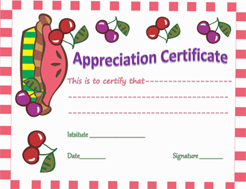 Colorful Dishes Certificate of Appreciation Template