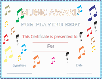 Colorful Musical Notes Award Certificate Template Word