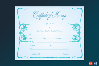 Contemporary Marriage Certificate Word