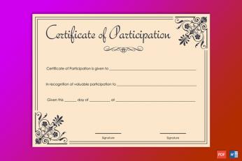Editable Participation Award Certificate
