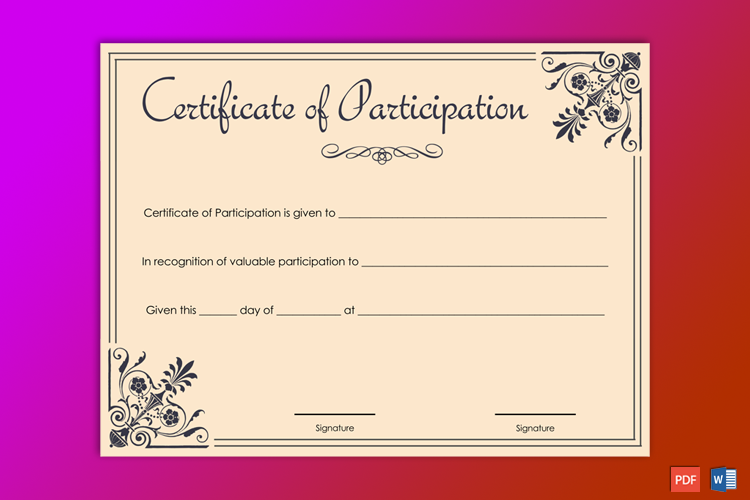 Editable Participation Award Certificate