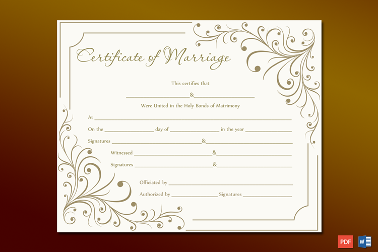 Creamy Gray Marriage Certificate Template Word