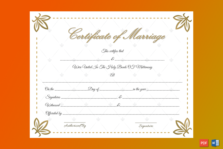 Dazzling Flowers Marriage Certificate Template Word
