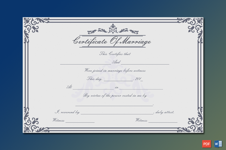 Dignified Marriage Certificate Template Word