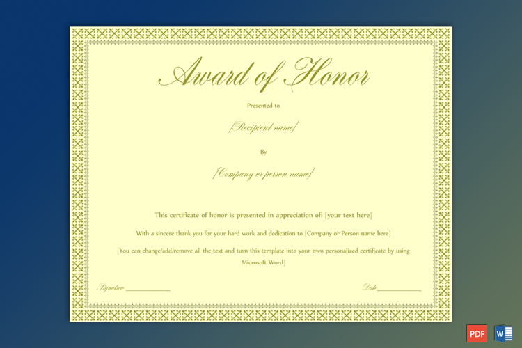 Award of Honor free Download