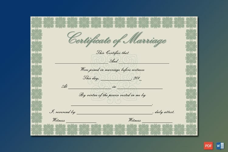 Elegant Marriage Certificate Template Word