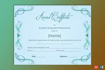 Performance Award Certificate Sample