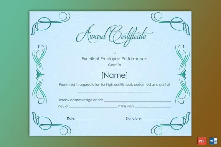 Performance Award Certificate Sample