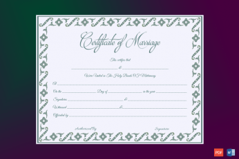 Fillable Marriage Certificate Template Word