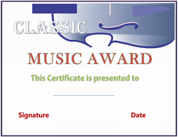 First String Music Award Certificate Template