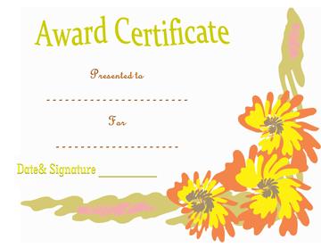 Floral Award Certificate Template