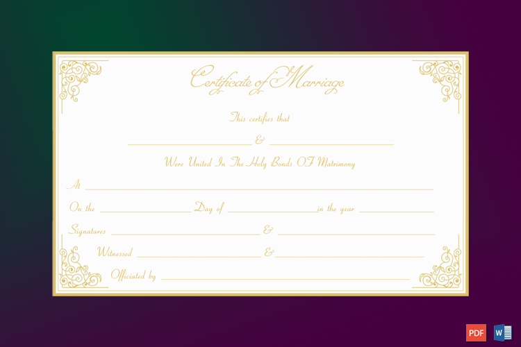 Formal Marriage Certificate Template (Golden Edge) Word