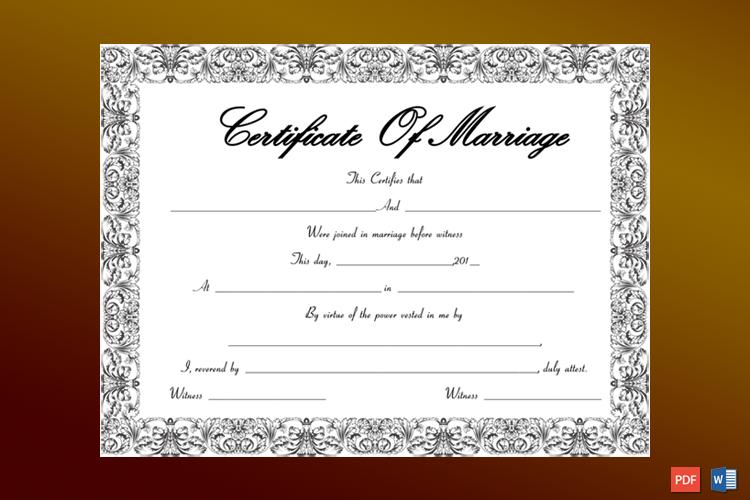 Fountain Swirls Marriage Certificate Template Word