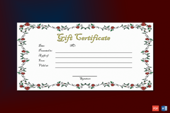 Gift Certificate Template (Paper Roses)