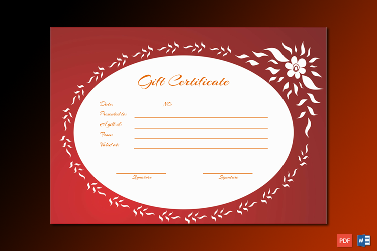 Gift certificate template (Flaming flowers)