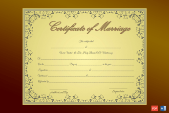 Golden Formal Marriage Certificate Template