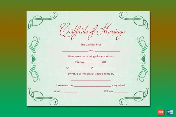 Green Grills Marriage Certificate Template Word