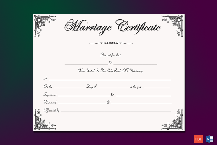 Intimacy Marriage Certificate Template Word