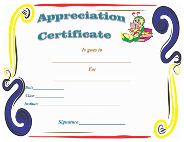Kids School Certificate of Appreciation Template