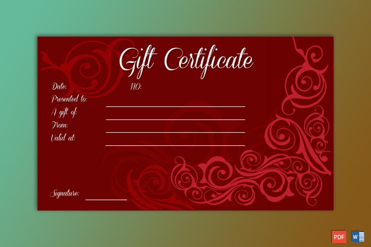 Formal Gift Certificate Editable