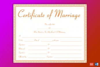 Marriage Certificate Form
