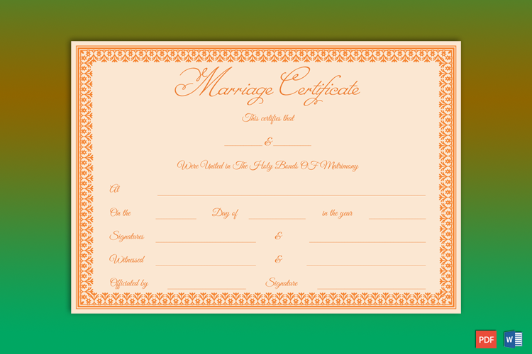 Realistic Fake Marriage License
