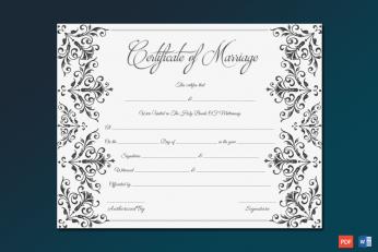 Marriage Certificate (Elegant Blank) Word