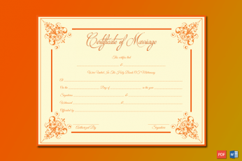Marriage Certificate (Orange Borders) Word