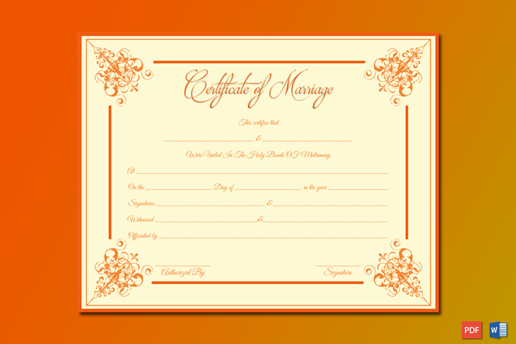 Marriage Certificate (Orange Borders) Word