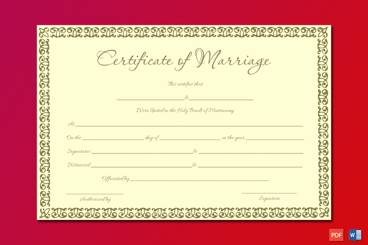 Marriage Certificate Template (Ben Gold) Word