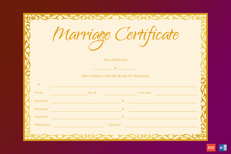 Marriage Certificate Template (Golden Flames Design) Word