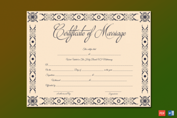 Marriage Certificate Template (Microsoft Office) Word