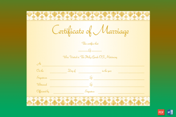 Marriage Certificate Template (Royal Gold) Word
