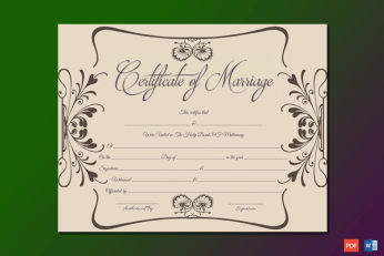 Marriage Certificate Template UK Word